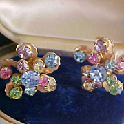 1950's Pastel Rhinestone  - Gold Plate Screw Back Earrings