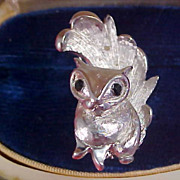Figural SQUIRREL w/Black Marquis Cut  Rhinestone Eyes - Brooch/Pin