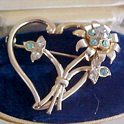 AQUAMARINE & DIAMANTE Open Gold Plate Heart & Floral Brooch/Pin
