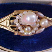 Simulated Pearl & Seed Pearl Gold Plate Brooch