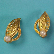 Simulated Pearl & Turquoise - Gold Plate Clip Earrings