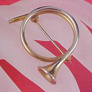 Estate Dynamic FRENCH HORN Gold Plate Brooch/Pin