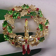 GERRYS Christmas Wreath - Holly & Candle & Enamel Brooch/Pin