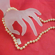 PRESTIGE Signed Hand Knotted Glass Pearls Necklace ! Sterling Silver Filigree Clasp