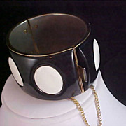 Black & White POLKA DOT - Metal & Enamel Wide Cuff Hinged Clamper Bangle Bracelet - Safety Cha