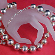 Massive Silver Plate Beads PREMIER DESIGNS Signed PD - Choker/Necklace