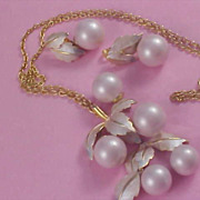 Ice Pink GLASS CHERRIES~ Pendant -  Chain - Brooch - & Dangle Earrings by Designer PARK LANE