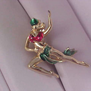 Enamel over Gold Plate Dancing Whimsical FAIRY Brooch/Pin