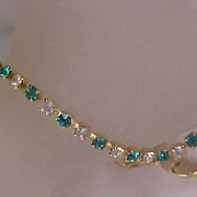 Diamante & Teal Chatons Gold Plated TENNIS BRACELET