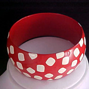 RED  with WHITE POLKA DOTS (Square) 1950's Lucite Wide CUFF Bangle/Bracelet