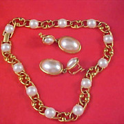 Simulated PEARL Cabochons Necklace & Earrings by NAPIER - Circa