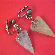 ARROWHEAD Agate Stone Silver Plated Dangle Clip Earrings