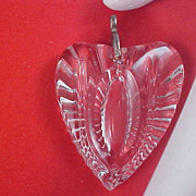 Glass Crystal Deeply Etched Thick Heart Pendant