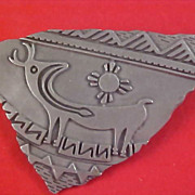 Ornate Southwestern PEWTER 1988 Brooch by JJ