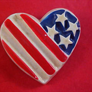 Patriotic Red-White-Blue HEART Brooch - Crafted in Lucite