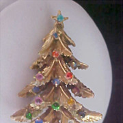 DECORATIVE Rhinestone Christmas Tree Brooch by Designer ART