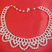 IMPECCABLE - Simulated Pearl Woven Bib Collar Necklace