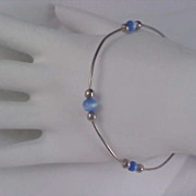 Blue Cat's Eye Glass Beads & Silver Plate Beads Bangle