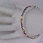 Blue & White Porcelain -14Kt Gold Accent & Enamel Bangle