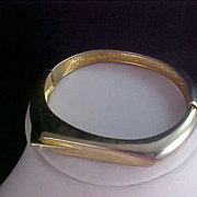MODERNISTIC Gold Plate Cubic Zirconia Bangle Bracelet