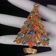 FESTIVE -  Rhinestone Christmas Tree Brooch by Designer ART