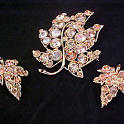 COGNAC~LAVENDER~AMBER Bezel Rhinestone Brooch & Clip Earrings - Signed BSK