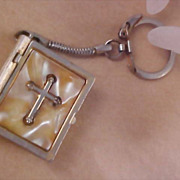 Mother of Pearl Bible Book with Cross Pill Box or Trinket Key Chain - Circa 1930's