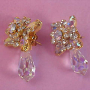 "Austrian Crystals Dangle ""JACKET"" (Two Part Articulate) Post Earrings"