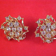 Art Deco Diamante  & Gold Plate Clip Earrings