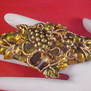Heavy Enamel & Gold Plate Dimensional Grapes & Grape Leaves Brooch
