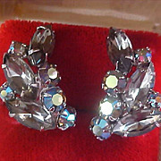 D & E Smoky Marquis Cut & Round Cut Aurora Borealis Silver Plate Clip Earrings