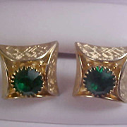 Emerald Green Rhinestone & Textured  Gold Plate SWANK Cuff Links - Circa 1950's