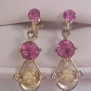 Pink Sapphire Rhinestones & Simulated Seed Pearl Dangle Screw Back Earrings