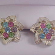 SARAH COVENTRY Pastel Silver Plate Signed Clip Earrings