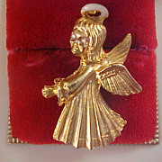 25 Grams Charming Heavy Gold Plate Angel - White Enamel Halo Brooch/Pin