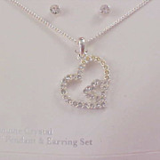 Genuine Crystal Silver  Plate Heart Pendant & Chain -  Post Earring Set