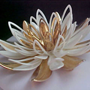 "Mid Century LOTUS FLOWER White & Enamel & Gilt Gold ""Cut-Work"" Brooch"