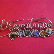 Charming GRANDMA BIRTHSTONE Gold Plate Dangle Hearts Brooch
