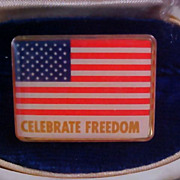 Celebrate Freedom AMERICAN FLAG Under Lucite Celluloid Lapel/Tac Pin