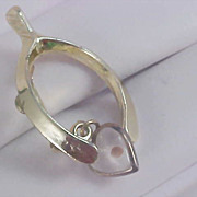 MUSTARD SEED Heart Dangle & Wishbone Gold Plate Brooch/Pin