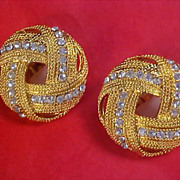 Mid Century 1950's Pave  Diamante Gold Plate Textured Clip Earrings