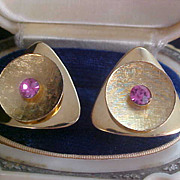 1950's Pink Sapphire Rhinestone & Gold Plate Smooth & Textured CUFF LINKS