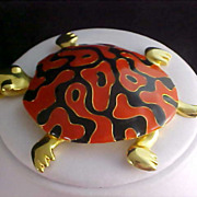 Mid Century Massive Russet Red & Black Enamel TURTLE Gold Plate Pendant & Chain