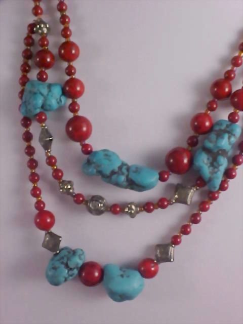 NATIVE AMERICAN ~ Genuine Turquoise & Jasper Three Strand Necklace