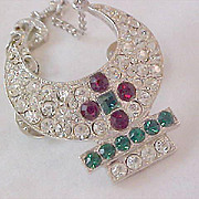 SHRINER'S Pave Diamante  - Ruby & Emerald Rhinestones Dangle Silver Plate Pin