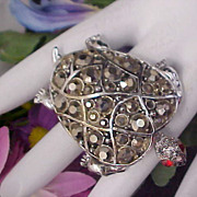 HOLLYCRAFT ~ Marcasites & Red Rhinestone Figural TURTLE Brooch