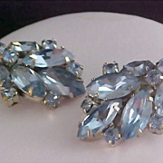Lavish Baby Blue Marquis JULIANA Silver Plate Clip Earrings