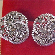 BLACK DIAMOND Rhinestone - Filigree Open Workmanship Clip Earrings