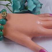 Charming Jade Glass & Alabaster Glass Expandable Bracelet