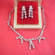 Art Deco  DIAMANTE CHATON Silver Rhodium Plated Necklace & Earrings
